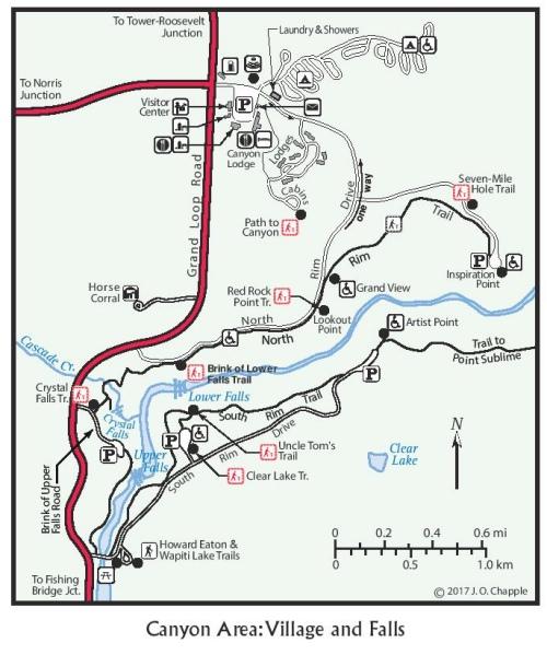Canyon Village Yellowstone map 2017