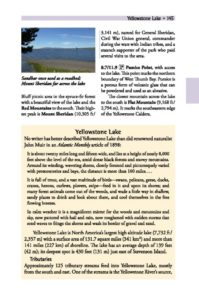 Yellowstone Lake sidebar page 145