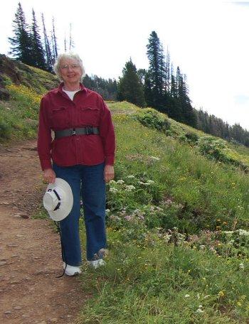 Janet Chapple on Mount Washburn