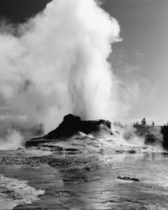 Castle Geyser black-and-white photo