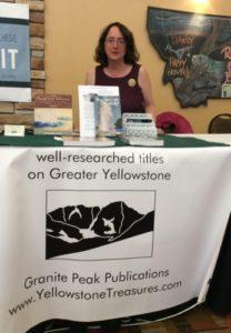 Beth at Montana book fair booth