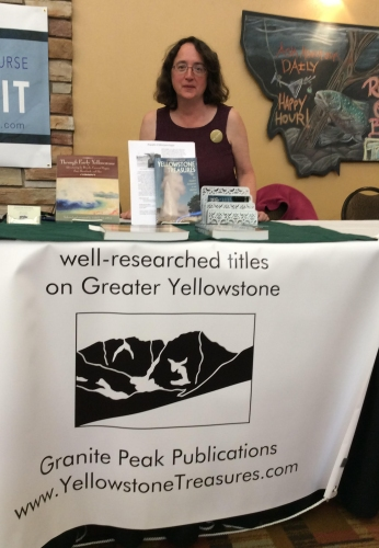 Beth at Montana book fair booth