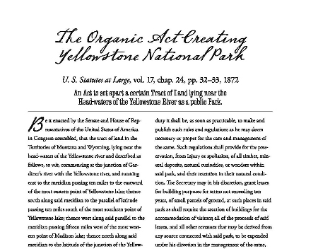 1872 Yellowstone act excerpt