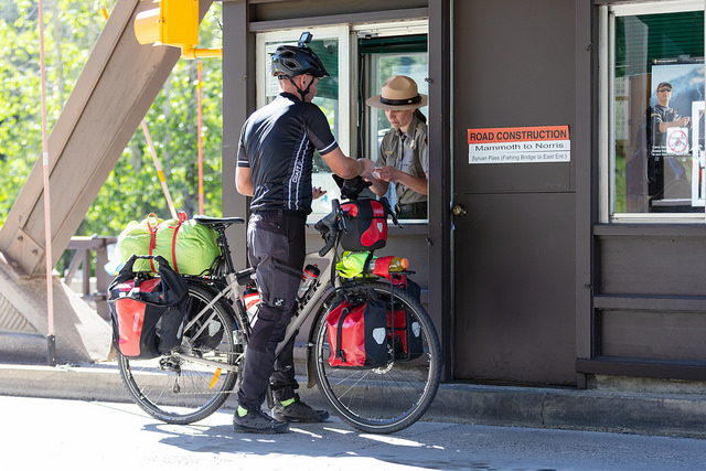 Cyclist enters Yellowstone National Park